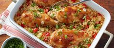 Traditional chicken and rice casserole gets a sweet-and-savory tropical twist with teriyaki-glazed chicken and pineapple rice.