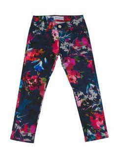 Girls designer trousers with flower print from Simonetta