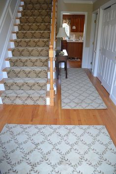 Custom Stair Runner Made From Wool Carpet Remnant In Norfolk.  Www.thecarpetworkroom.net