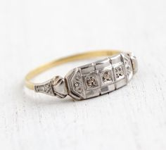 Antique 18k White & Yellow Gold Art Deco Diamond by MaejeanVintage, $225.00