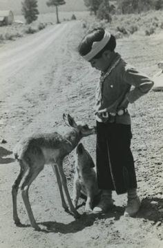 Hopi boy, baby antelope and puppy, Fred Harvey Company Photograph Collection, ca. 1925 Heard Museum, Phoenix, Arizona [RC1:344]