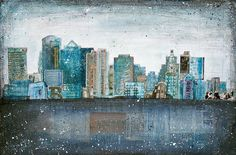 Dirty Water - large 24x16 paper print - mixed media Boston skyline painting collage, vintage paper blue grey typography urban. by maechevrette on etsy