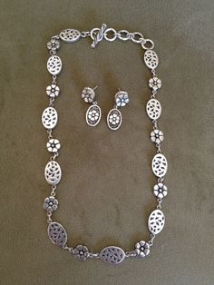 LOIS HILL STERLING  SILVER TOGGLE NECKLACE and EARRINGS