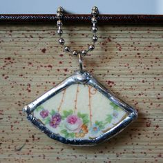 Vintage Broken China Necklace Floral Fan Handmade Birthday Shabby Chic Cottage Chic with Ball chain by metrocottage. $28.00, via Etsy.