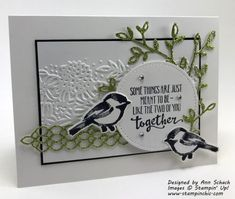 White embossed piece adds to this Mothers Day Cards, Valentine Day Cards, Wedding Anniversary Cards, Wedding Cards, Petite Palette, Stampin Up Catalog, Friendship Cards, Stamping Up Cards, Bird Cards