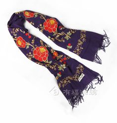 WOOL EMBROIDERED SHAWL PURPLE | chinese embroidery tutorial