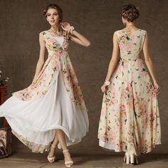 82b96c134849 Sexy Women's Floral Sleeveless Long Chiffon Tunic Dress Boho Maxi Party  Cocktail