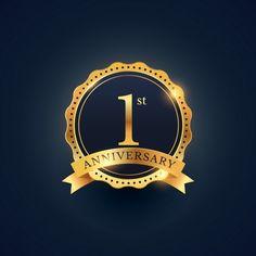 1st anniversary, golden edition Free Vector