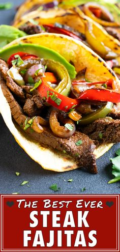 Mexican Food Recipes, Beef Recipes, Cooking Recipes, Healthy Recipes, Mexican Dinners, Best Steak Fajitas, Flank Steak Fajita Marinade, Crockpot Fajitas Steak, Skillet Fajitas