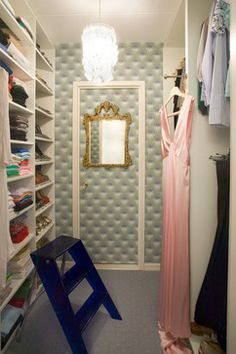 A luxurious fabric on the inside of the closet (and door) will give a plain closet a whole new feeling!
