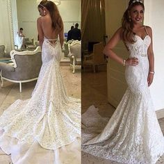 Find More Wedding Dresses Information about Gorgeous Berta Bridal Mermaid Wedding Dresses 2016 Sexy Backless Bridal Gowns Spaghetti Straps Full Lace Vestidos de Noivas,High Quality lace ribbon dress,China dress opera Suppliers, Cheap lace wrap dress from Ayaya Dress Shop on Aliexpress.com