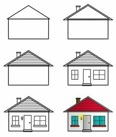 Trendy House Cartoon Kids To Draw Easy Drawings Sketches, Easy Cartoon Drawings, Cartoon Drawing Tutorial, Disney Drawings, Art Drawings, Drawing Cartoons, House Drawing For Kids, Simple House Drawing, Easy Drawings For Beginners