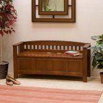 Linon Hunter Walnut Short Back Storage Bench and Optional Cushion Package