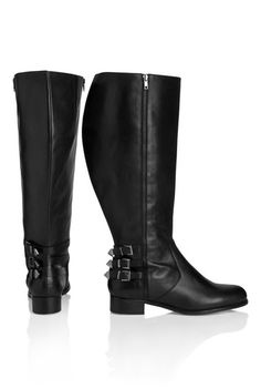Tall Caspia Leather Knee High Boot With Zip And Buckle Wide at Long Tall Sally. Tall  Clothing at PrettyLong.com