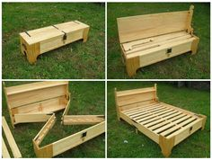 Guest bed in a bench
