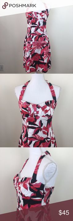 """Cache Red and Black Hibiscus Halter Dress This red, pink, white and black halter dress from Cache features a sweetheart neckline and side zipper with clasp. Size: 10. Chest: 14.75 - 16"""". Waist: 14.5"""". Length: 28.5"""" (hem to chest; halter can be adjusted). Cache Dresses Midi"""