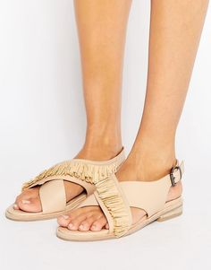 Leather criss cross sandals.