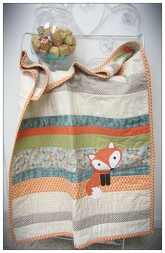 Flannery the Fox Nursery Bedding Collection, Handmade Orange, Teal, Grey and Green Unisex Crib Quilt