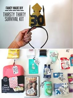 DIY | Thirsty Thirty Birthday Survival Kit // This kit can be customized for someone who's going to be 21, 40, or even 50! (More details on the blog)