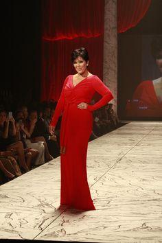 Kris Jenner Red Dress Heart Truth wearing Badgley Mischka