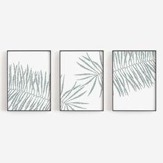 Modern Tropical Palm Leaf Triptych Set of Three Wall Art Prints or Canvas - Modern Tropical Palm Leaf Triptych Set of Three Wall Art Prints or Can – Jetty Home - Wall Art Sets, Wall Art Decor, Wall Art Prints, Room Decor, Cactus Wall Art, Leaf Wall Art, Leaf Illustration, Digital Print, Modern Tropical