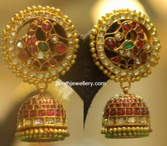 Antique Earrings latest jewelry designs - Page 4 of 56 - Indian Jewellery Designs India Jewelry, Gold Jewelry, Jewelery, Gold Necklaces, Jewelry Shop, Indian Jewellery Design, Jewelry Design, Antique Jewellery, Gold Earrings Designs