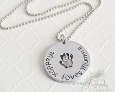 Mommy necklace  Gifts for mom  Handprint  Hand by ImprintKeepsakes