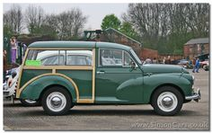 Morris Minor Traveller - ash and aluminium rear components built and then bolted to the chassis and to the front car cab. It was the last Traveller so constructed, Mini ones used wood only as a decoration glued to steel panels Morris Traveller, Vintage Cars, Antique Cars, Automobile, Morris Minor, British Sports Cars, Air Ride, Station Wagon, Car Car