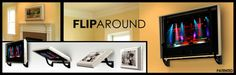 """Flip-Around TV Mount by HVTVmounts.com:  Mount a TV on one side, picture on the other. Flips 180 deg so you can watch TV or hide it easily"" -- Click through to see several options."
