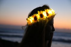 Sunflower LED Light Up Floral Crown, Daisy Flower Headband