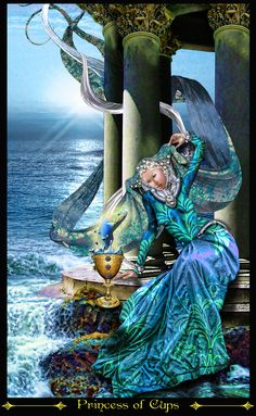 Sửng sốt Lá Princess of Cups - Tarot Illuminati bài tarot Illuminati, Tarrot Cards, Fortune Cards, Online Tarot, Tarot Card Meanings, Cup Art, Oracle Cards, Tarot Decks, Archetypes