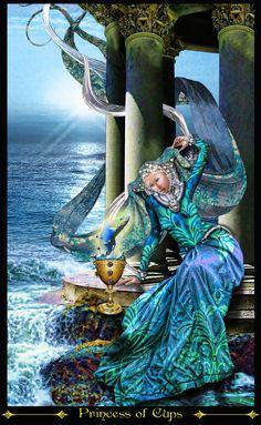 Sửng sốt Lá Princess of Cups - Tarot Illuminati bài tarot Illuminati, Tarrot Cards, Fortune Cards, Online Tarot, Tarot Card Meanings, Cup Art, Oracle Cards, Tarot Decks, Archetypes