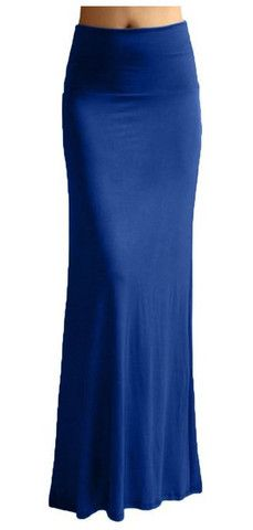 Solid Banded Waist Foldover Maxi Skirt (Royal Blue) – Niobe Clothing