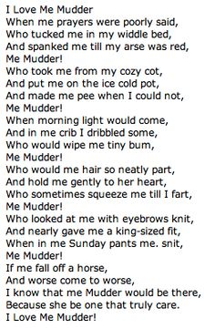 I love me mudder! Cheers to my roots-- a Newfie Canadian poem <3