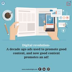 Content Marketing has unleashed an altogether different level of advertising wherein a good ad is the one which has good content! Marketing Tools, Content Marketing, Social Media Marketing, Digital Marketing, Seo Online, Digital Revolution, Reputation Management, Competitor Analysis, Advertising Agency