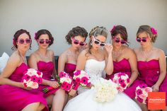 'Retro look' photo #Hot #Pink #Bridesmaids ♥ For an easy-to-follow 'Wedding Planning Guide' ... https://itunes.apple.com/us/app/the-gold-wedding-planner/id498112599?ls=1=8 ♥ For more wedding inspiration ... http://pinterest.com/groomsandbrides/boards/ & magical wedding ideas.