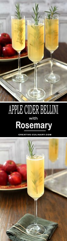 A simple seasonal cocktail for the Fall and Winter holidays. This Apple Cider Bellini with Rosemary is so easy and just perfect for breakfast, brunch or your holidays meals. via @creativculinary