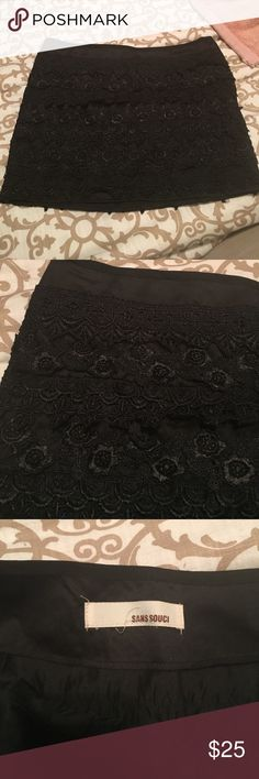 Selling this Black embroided mini skirt size 2 on Poshmark! My username is: kmac3849. #shopmycloset #poshmark #fashion #shopping #style #forsale #san souci  #Dresses & Skirts