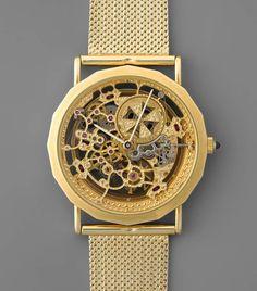 Vacheron Constantin Skelettuhr Runde, automatische, extra flache Skelettuhr in 750 Gelbgoldgehäuse — Taschen- und Armbanduhren