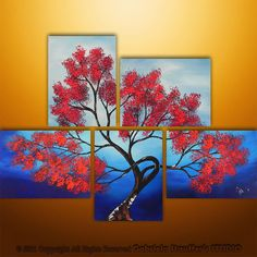 great use of space - multiple canvas tree art!