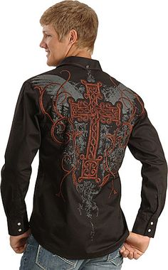 Petrol Jayden Black Embroidered Cross