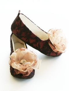 Toddler Shoes - Flower Girl - Couture Ballet Flat - Fall colors ... Brown Lace on Rust Satin with Organza Flower - Baby Souls Baby Shoes. $38.00, via Etsy.