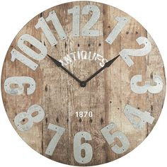 Pier 1 Imports Natural Aged Wall Clock ($149) ❤ liked on Polyvore featuring home, home decor, clocks, clock, natural, battery powered clock, distressed home decor, battery operated clock, battery wall clocks and pier 1 imports