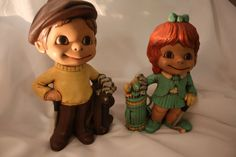 Super RETRO FUN 70's Golf Figurines His and Hers by VintagebyViola, $25.00
