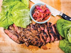 In Korea, lettuce is often used as a crisp wrapper for bulgogi (marinated beef). In this recipe from Chris Shepherd of Underbelly in Houston, sweeter pickled onions take the place of spicy kimchi. Good Steak Recipes, Grilling Recipes, Beef Recipes, Cooking Recipes, Easy Recipes, Chicken Recipes, Recipies, Grilling Ideas, Picnic Recipes