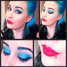 Blue hair, blue brows, red lips!