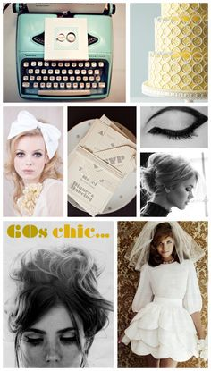 It's a mod, mod, mod, mod wedding!  Which, whatever.  But I love their hair, and that typewriter!