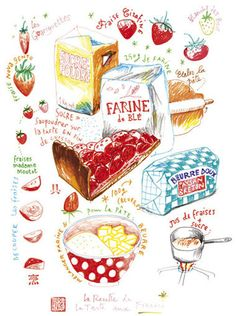 Kitchen art recipe print, 8X10 Food poster, Strawberry pie illustrated recipe, French bakery drawing, Red, Kitchen decor, cake art via Etsy