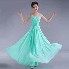 Chiffon Sequins V-neck Sleeveless Long Evening Bridesmaid Dress
