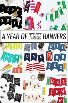 Download these FREE Printable Banners for the entire year from @PagingSupermom Free Banner, Free Printable Banner Letters, Printable Labels, Free Printable Birthday Banner, Christmas Banner Printable, Free Printables, Printable Party, Printable Activities For Kids, Pennant Banners